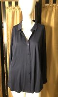Eileen Fisher Organic Cotton Button Front Jersey Shirt NavyTop Size L  NWT