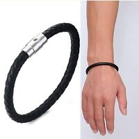 6MM Black Rope Real Leather Bracelet Men's Stainless Steel Magnetic Clasp Bangle
