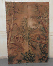 Small French 2 Fold Painted Screen