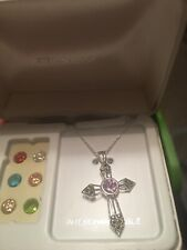 "Sterling Silver Ladies Cross Necklace With ""Interchangeable Gems"
