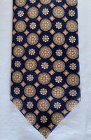 New Brioni Mens Silk Necktie Tie Navy Orange Medallions 3.5 X 59
