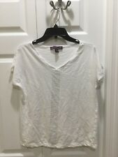 Women's Gloria Vanderbilt Cotton Studded T-Shirt. Petite Small. White. NWOT