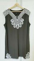 Alfani Woman Army Green Sleeveless Stretch Grecian Soutache Short Dress Sz 1X