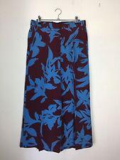 BOLD DRIES VAN NOTEN Blue Painterly Floral Wide-Legged Maroon Silk Pants EU 38