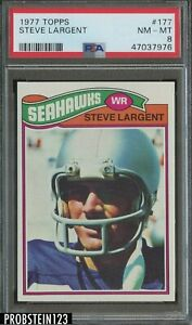 1977 Topps #177 Steve Largent RC ROOKIE HOF Seattle Seahawks PSA 8 NM-MT