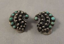 Vintage unique swirl style 800 silver and turquoise clip earrings