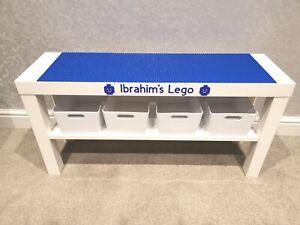 LEGO Table All Blue Base Plates Organised Storage Play Set Up Personalised