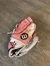 Girls Wilsons Leather Pink And White Glove