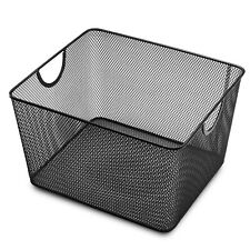 YbmHome Household Wire Mesh Open Bin Shelf Storage Basket Organizer Black 1041vc