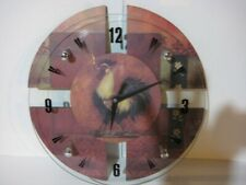"Rooster clock 14"" diameter wood/glass battery operated"
