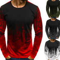 Trendy Men's Slim Fit O Neck Long Sleeve Muscle Tee T-shirt Casual Tops Blouse