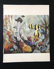 """1966 Vintage FIJI Full Color Art Plate """"THE CORAL REEF"""" McIntyre Litho"""