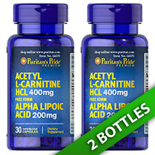 Acetyl L-Carnitine 400 mg with Alpha Lipoic Acid 200mg 2X30 or 1x60 Puritan