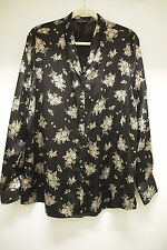 Gap 100% Silk Long Sleeve Lounging Jacket, Black Print, Size L