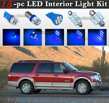 15-pc Blue 10K LED Interior Light Bulb Package Kit Fit 2003-2013 Ford Expedition