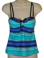 24th & Ocean blue striped tankini top size S swimsuit women new