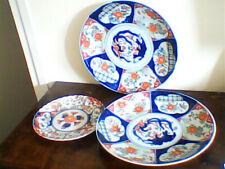 Lot de 3 assiettes d'Imari (Japon) diamètre 30,5 et 21 cm cachet sous la base