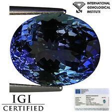 6.10 Ct IGI Certified AA Natural D Block Tanzanite Green Violet Color Oval Cut