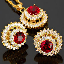 Red Ruby Round Cut Necklace Pendant Earrings Gemstone 18K Gp Jewelry Set