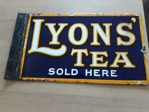 """Original Enamel Double Sided Advertising Sign - """"Lyon's Tea Sold Here"""""""