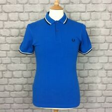 FRED PERRY MENS UK S BLUE TWIN TIPPED POLO SHIRT DESIGNER CASUAL SUMMER DESIGNER