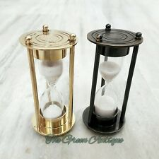 Antique & Brass Sand Timer Hourglass Set Of 2 Vintage Marine Collectible Item