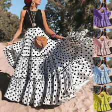 Fashion Women High Waist Polka Dot Print Skirt Loose Ruffled Pleated Beach Skirt
