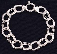 Oval Rolo Diamond Cut Link Bracelet Polished Shiny Real 925 Sterling Silver