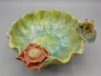 Vtg Hand crafted Majolica Pottery Frog & Lily Pad Flower Bowl Dish SIgned MN