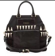 Givenchy Bugatti Bag Studded Nylon Leather Gunmetal Purse Black Large RARE
