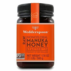 Wedderspoon 100% Raw Monofloral Manuka Honey KFactor 16 500g 17.6 oz New Zealand