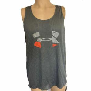 Under Armour UA HeatGear Graphic Mens Grey Gym Sports Running Vest L