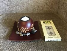 New 10cm Tall Wood Candle Holder With Candle HE04