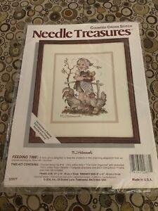 Needle Treasures Counted Cross Stitch Kit. Feeding Time. M.J. Hummel. New Sealed