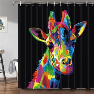 Colorful Cartoon Giraffe in Black Fabric Shower Curtain, Bathroom Mat Toilet Rug