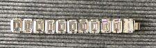 M&J Savitt Clear Emerald Cut Crystal Sterling Silver Huge Bracelet INCREDIBLE
