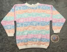 Vintage Pastel Fairy Kei Sweater By Delivery Ltd Hearts Bows Pink Orange Blue