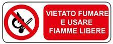 Cartello segnaletica vietato fumare e usare fiamme libere in alluminio 330x500mm