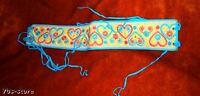 Hippie Boho Retro 70s Embroidered HEARTS FLWR Sash Belt