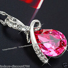 Rose Pink Tear Necklace Crystal Pendant Love Wife Couple NEW Xmas Gifts For Her
