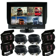 "9"" Quad Monitor With Backup Camera Safety System For Truck Trailer RV"