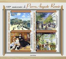 More details for central african rep 2021 mnh art stamps pierre-auguste renoir paintings 4v m/s