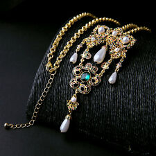 Victorian Filigree Lace Crystal Owl Pearl Art Deco Pendent Long Necklace Brooch
