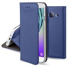 Funda para Samsung J3 2016 de libro tarjetero lado con tapa Iman negra fina