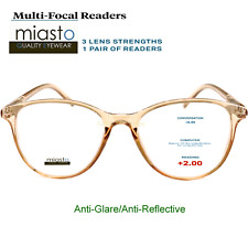 MIASTO MULTI-FOCAL COMPUTER READER READING GLASSES+2.00 NO LINE ANTI-GLARE~BROWN
