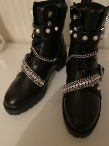 River Island New Shelly Chain Studded Biker Boots Size 5