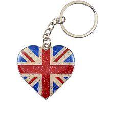 Funky British Flag Heart Shaped Union Jack Glitter Keyring Keychain - Souvenir