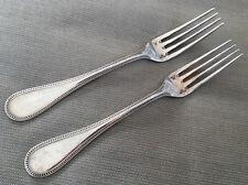 2 Dessert Forks Christofle Perles Silver Plate Silverplate 18515 Beaded 1890