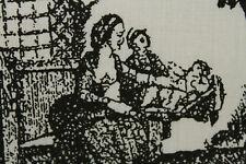 Toile du Jouy Inspired Calico Cotton Print Dress Fabric Material (Cream/Black)