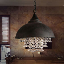 Rustic Industrial Crystal Pendant Light Loft Vintage Chandelier Ceiling Lamp USA